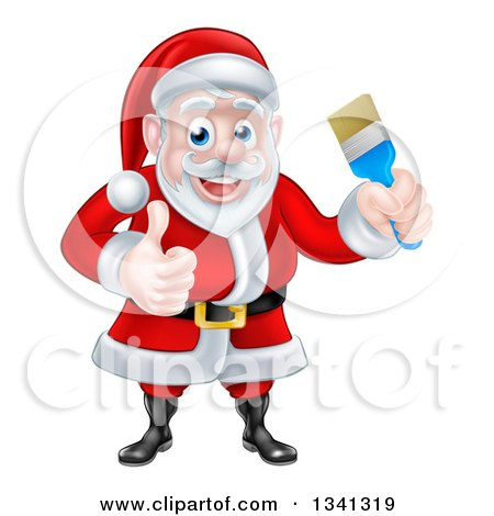 Clipart of a Christmas Santa Claus Holding a Blue Paintbrush and Giving a Thumb up 2 - Royalty Free Vector Illustration by AtStockIllustration