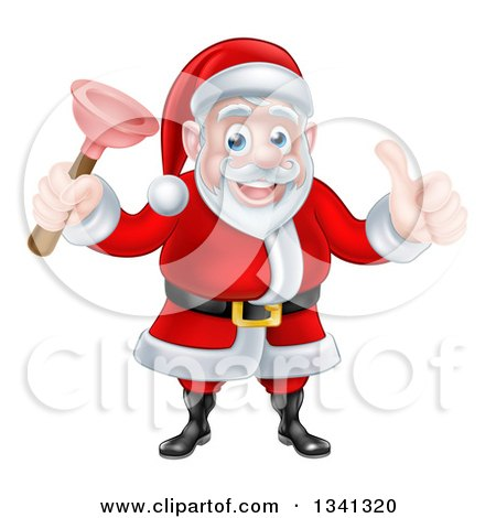Clipart of a Happy Christmas Santa Claus Plumber Holding a Plunger and Giving a Thumb up 3 - Royalty Free Vector Illustration by AtStockIllustration