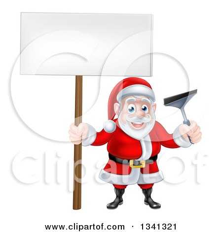 Clipart of a Christmas Santa Claus Holding a Window Cleaning Squeegee and Blank Sign 2 - Royalty Free Vector Illustration by AtStockIllustration