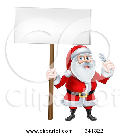 Clipart of a Happy Christmas Santa Holding a Spanner Wrench and Blank Sign 4 - Royalty Free Vector Illustration by AtStockIllustration