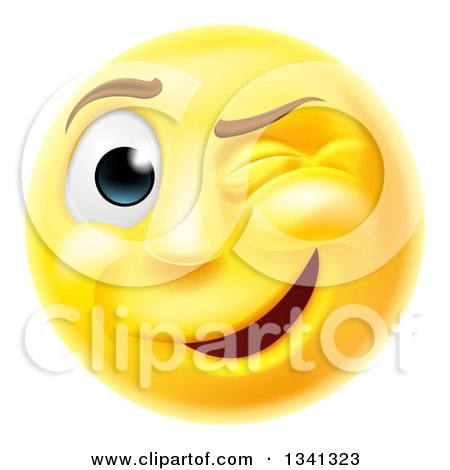 Clipart of a 3d Yellow Smiley Emoji Emoticon Face Winking - Royalty Free Vector Illustration by AtStockIllustration