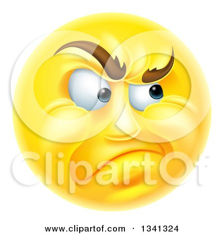 Clipart of a 3d Yellow Smiley Emoji Emoticon Face Looking Skeptical - Royalty Free Vector Illustration by AtStockIllustration