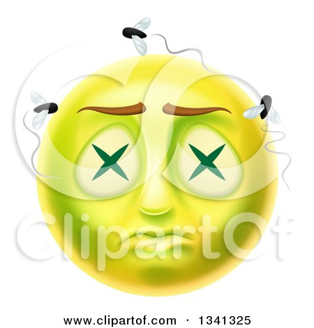 Clipart Of A 3d Dead Rotting Smiley Emoji Emoticon Face With Flies Royalty Free Vector Illustration
