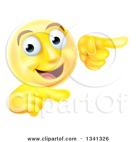 Clipart Of A 3d Yellow Smiley Emoji Emoticon Face Pointing To The Right Royalty Free Vector Illustration