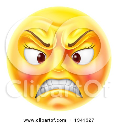 Clipart of a 3d Angry Yellow Female Smiley Emoji Emoticon Face - Royalty Free Vector Illustration by AtStockIllustration