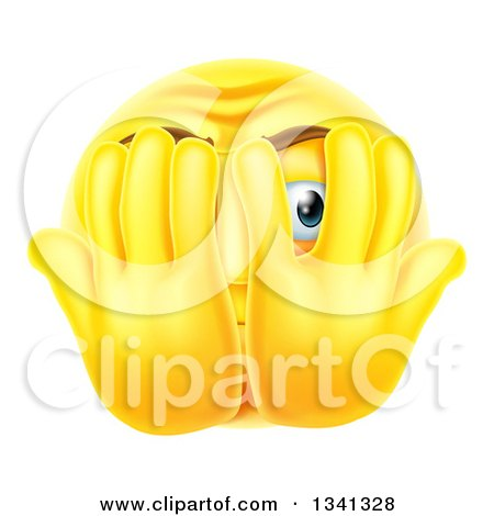 Clipart of a 3d Yellow Smiley Emoji Emoticon Covering His Face and Peeking Through Fingers - Royalty Free Vector Illustration by AtStockIllustration