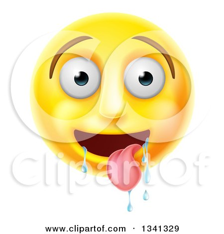 Clipart of a 3d Yellow Smiley Emoji Emoticon Face Drooling - Royalty Free Vector Illustration by AtStockIllustration
