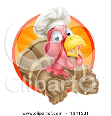 Clipart of a Happy Brown Chef Turkey Giving a Thumb up and Emerging from a Circle of Sunset Rays - Royalty Free Vector Illustration by AtStockIllustration