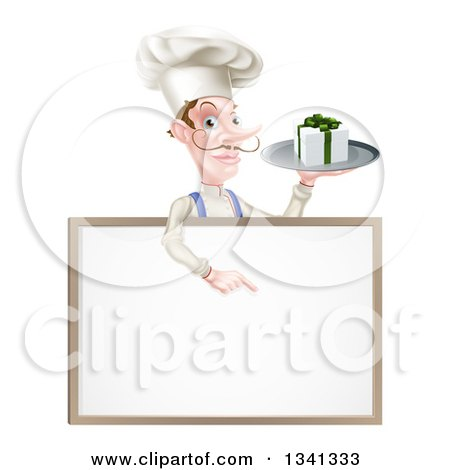 Clipart of a White Male Chef with a Curling Mustache, Holding a Gift on a Platter and Pointing down at a Blank White Board Menu Sign - Royalty Free Vector Illustration by AtStockIllustration