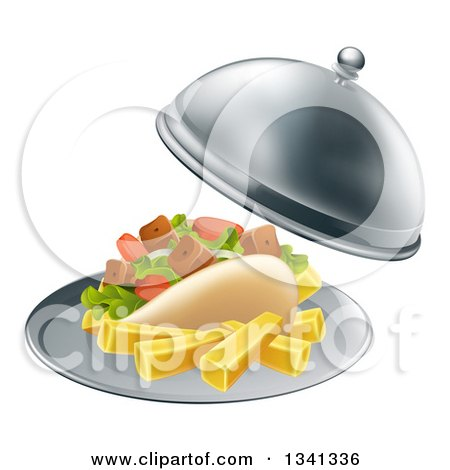 Clipart of a 3d Souvlaki Kebab Sandwich and French Fries Being Served in a Cloche Platter - Royalty Free Vector Illustration by AtStockIllustration