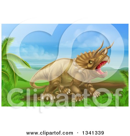 Clipart of a 3d Roaring Angry Triceratops Dinosaur in a Landscape - Royalty Free Vector Illustration by AtStockIllustration