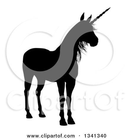 Clipart of a Black Silhouetted Unicorn - Royalty Free Vector Illustration by AtStockIllustration