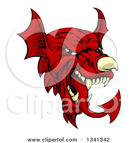 Clipart of a Cartoon Red Welsh Dragon Mascot - Royalty Free Vector Illustration by AtStockIllustration