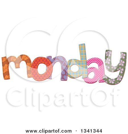 Clipart of a Patterned Stitched Monday Day of the Week - Royalty Free Vector Illustration by Prawny