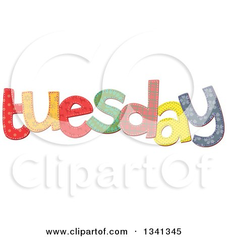 Clipart of a Patterned Stitched Tuesday Day of the Week - Royalty Free Vector Illustration by Prawny