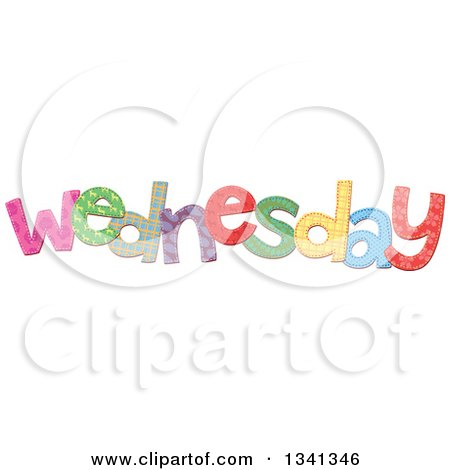 Clipart of a Patterned Stitched Wednesday Day of the Week - Royalty Free Vector Illustration by Prawny