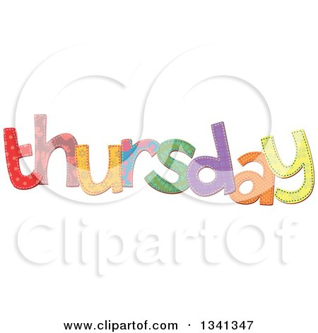Clipart of a Patterned Stitched Thursday Day of the Week - Royalty Free Vector Illustration by Prawny