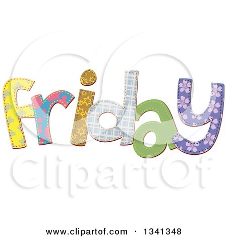Clipart of a Patterned Stitched Friday Day of the Week - Royalty Free Vector Illustration by Prawny