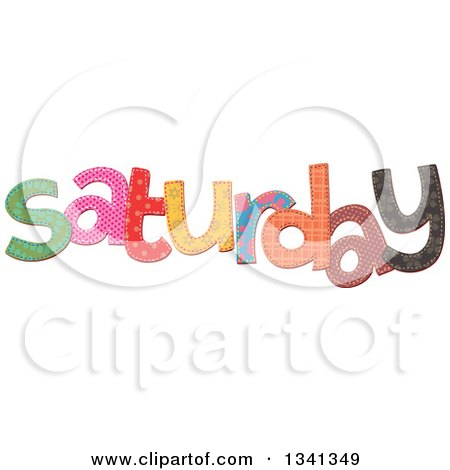 Clipart of a Patterned Stitched Saturday Day of the Week - Royalty Free Vector Illustration by Prawny