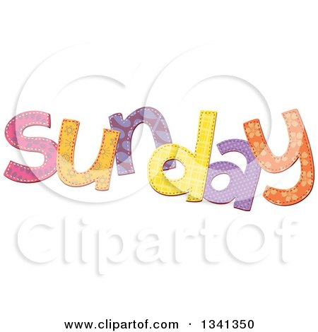 Clipart of a Patterned Stitched Sunday Day of the Week - Royalty Free Vector Illustration by Prawny