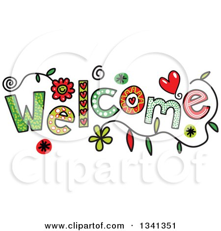 Clipart of a Colorful Sketched WELCOME Word - Royalty Free Vector Illustration by Prawny