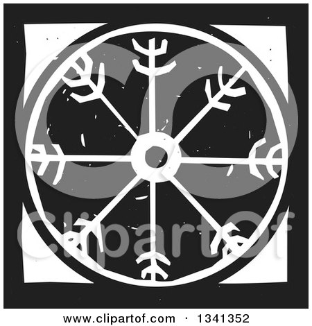 Clipart of a Black and White Woodcut Viking Wheel - Royalty Free Vector Illustration by xunantunich