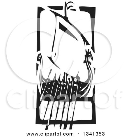 Clipart of a Black and White Woodcut Dragon Viking Ship with Oars in a Frame - Royalty Free Vector Illustration by xunantunich