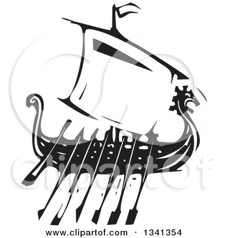Clipart of a Black and White Woodcut Dragon Viking Ship with Oars - Royalty Free Vector Illustration by xunantunich