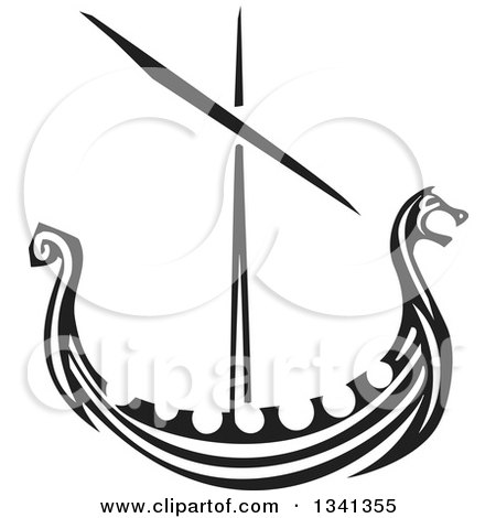 Clipart of a Black and White Woodcut Dragon Viking Ship - Royalty Free Vector Illustration by xunantunich