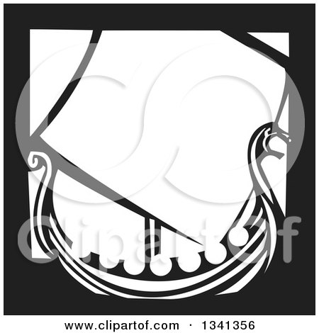 Clipart of a Black and White Woodcut Dragon Viking Ship with a Border - Royalty Free Vector Illustration by xunantunich