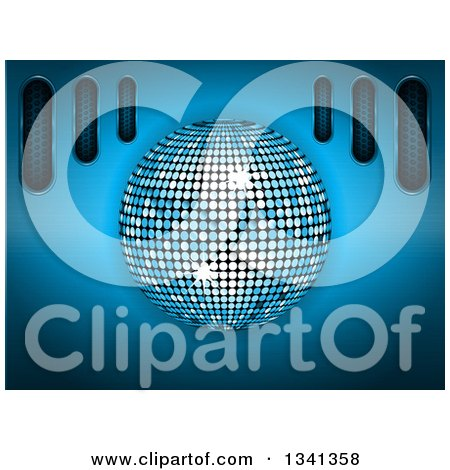 Clipart of a 3d Disco Ball Sparkling over Blue with Metallic Vents - Royalty Free Vector Illustration by elaineitalia