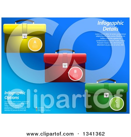 Clipart of Colorful Infographic Briefcases with Sample Text over Blue - Royalty Free Vector Illustration by elaineitalia