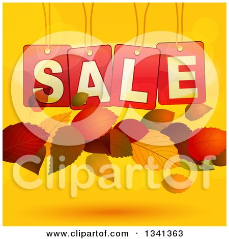 Clipart of 3d Suspended Red Sale Tags and Floating Autumn Leaves over Gradient and Flares - Royalty Free Vector Illustration by elaineitalia