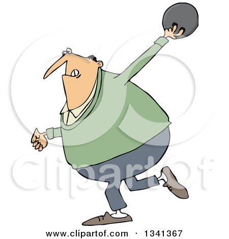 Clipart of a Cartoon Chubby White Man Swinging Back a Bowling Ball - Royalty Free Vector Illustration by djart