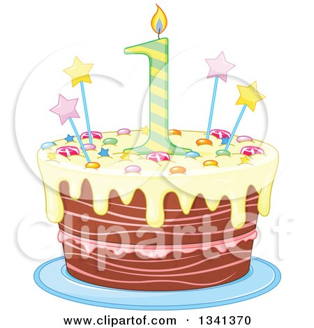 Clipart of a First Birthday Cake with a Number Candle, Stars, Candy and Yellow Frosting - Royalty Free Vector Illustration by Pushkin