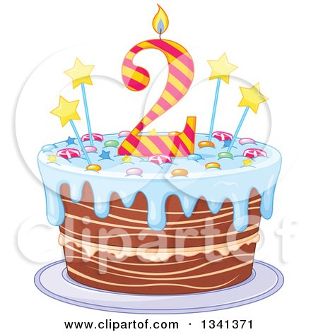 Clipart Of A Second Birthday Cake With A Number Candle