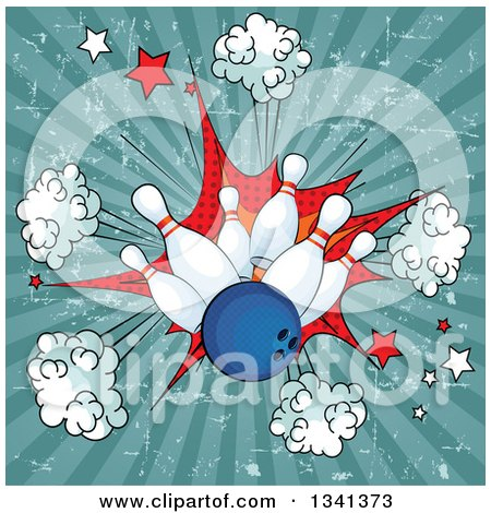 Clipart of a Blue Bowling Ball Crashing into Pins over a Grungy Comic Burst and Rays - Royalty Free Vector Illustration by Pushkin