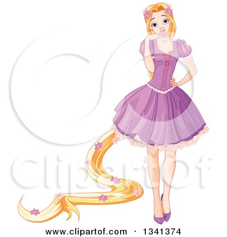 Clipart Of Princess Rapunzel With Long Hair Decorated In Flowers Wearing A Purple Dress Royalty Free Vector Illustration