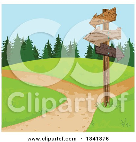 Clipart of a Wooden Directional Sign Post and Paths on a Park Hill - Royalty Free Vector Illustration by Pushkin