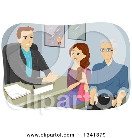 Clipart of a Cartoon Grandfather and Teen Girl in a Counseling Session - Royalty Free Vector Illustration by BNP Design Studio