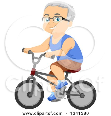 Clipart of a Happy Senior Caucasian Man Riding a Bicycle - Royalty Free Vector Illustration by BNP Design Studio