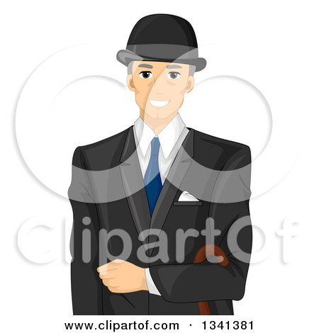 Clipart of a Happy Senior White English Man in a Suit - Royalty Free Vector Illustration by BNP Design Studio