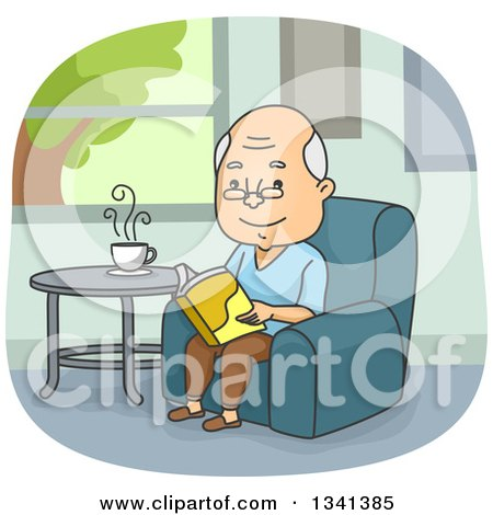 Cartoon Happy Senior Caucasian Man Reading a Book in a Chair Posters, Art Prints