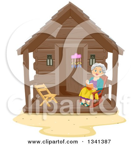 Clipart of a Happy Senior White Woman Reading a Book in a Rocking Chair at a Log Cabin Porch - Royalty Free Vector Illustration by BNP Design Studio