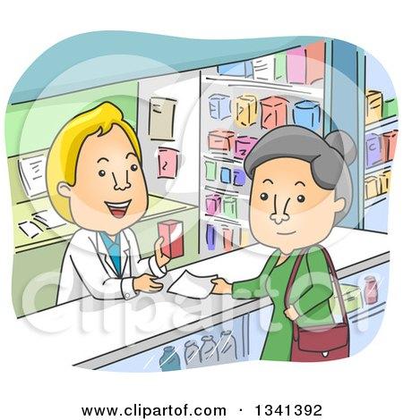 Cartoon Senior White Woman Picking up a Prescription in a Pharmacy Posters, Art Prints