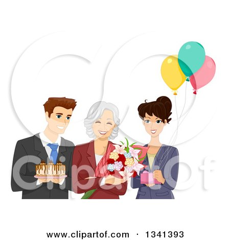 Clipart of a Happy Senior Woman Reciving Gifts, Cake and Flowers at Her Retirement Office Party - Royalty Free Vector Illustration by BNP Design Studio