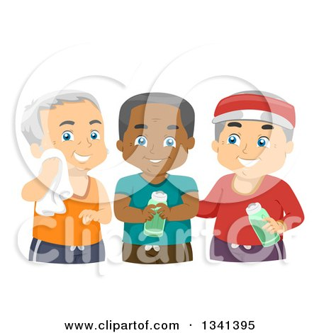 Clipart of a Group of Happy Male Senior Citizens Working out Together - Royalty Free Vector Illustration by BNP Design Studio