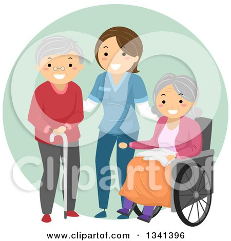 Clipart of a Happy White Female Caregiver Helping Senior Patients - Royalty Free Vector Illustration by BNP Design Studio