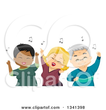 Clipart of White and Black Senior Citizens Having Fun and Dancing at a Party - Royalty Free Vector Illustration by BNP Design Studio