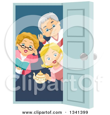 Clipart of a Happy Senior Caucasian Man and Women Welcoming for a House Party at a Door - Royalty Free Vector Illustration by BNP Design Studio